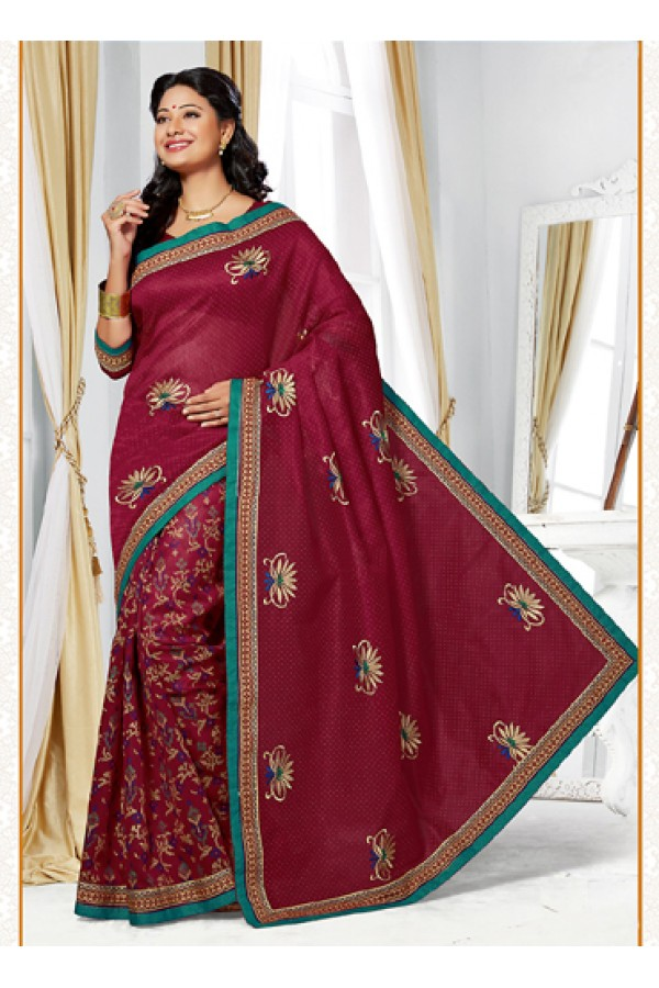 Ethnic Wear Maroon Cotton Saree  - 73389