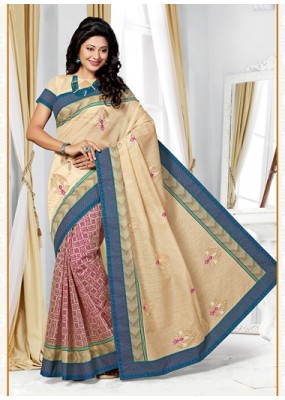 Party Wear Cream & Pink Cotton Saree  - 73393