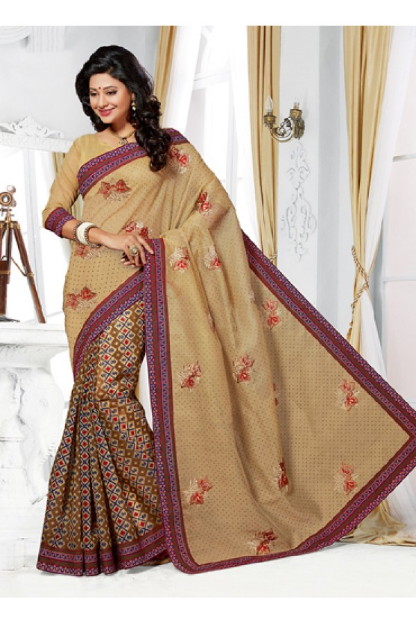 Ethnic Wear Tan Brown Cotton Saree  - 73396