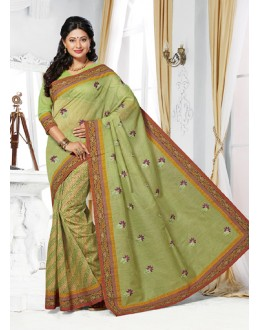 Ethnic Wear Green Cotton Saree  - 73398