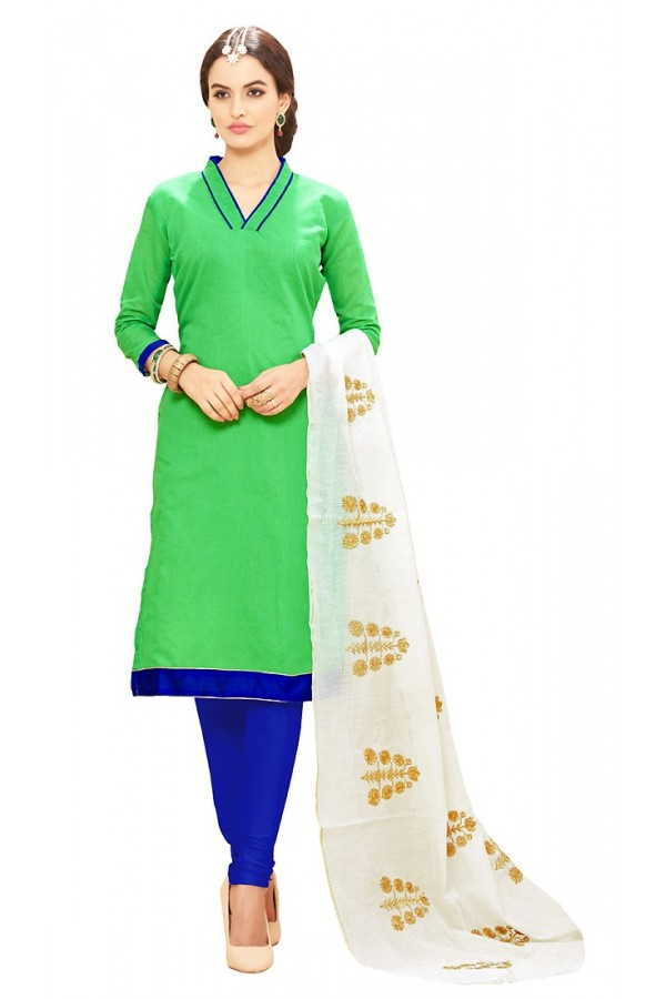 Office Wear Green & Blue Cotton Salwar Suit - 72980
