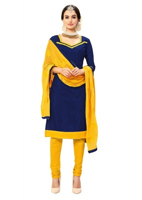 Casual Wear Blue & Yellow Cotton Salwar Suit - 72985