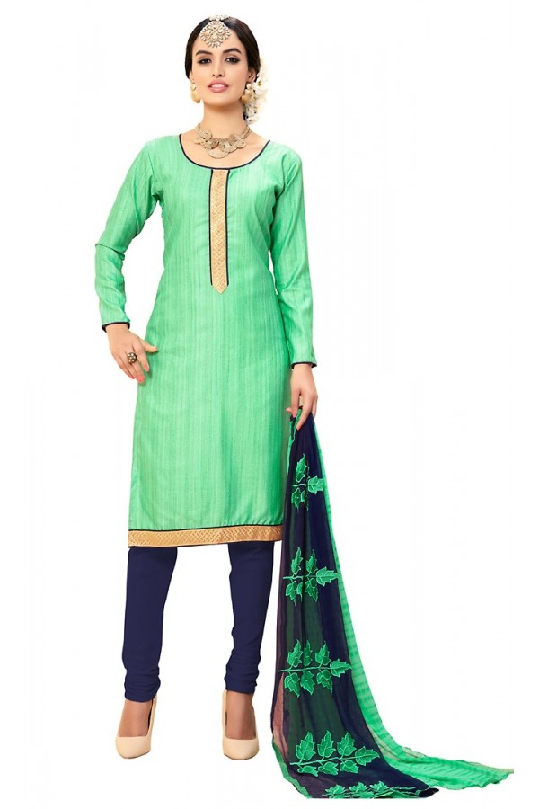 Casual Wear Green & Blue Cotton Salwar Suit - 72986