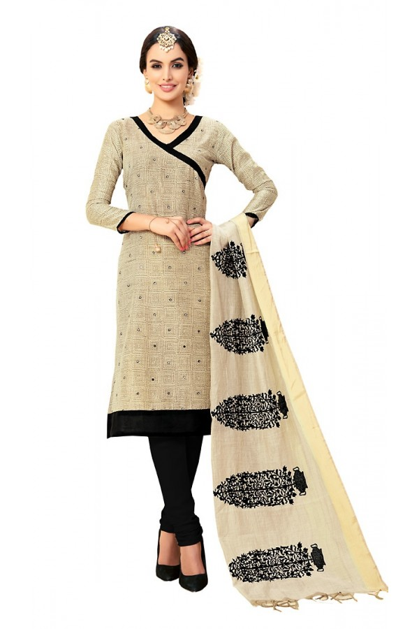Ethnic Wear Beige & Black Cotton Churidar Suit - 72987