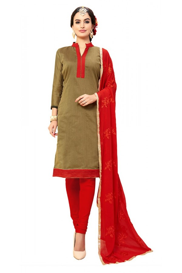 Office Wear Brown & Red Cotton Churidar Suit - 72989
