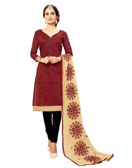 Office Wear Red & Black Cotton Churidar Suit - 72990