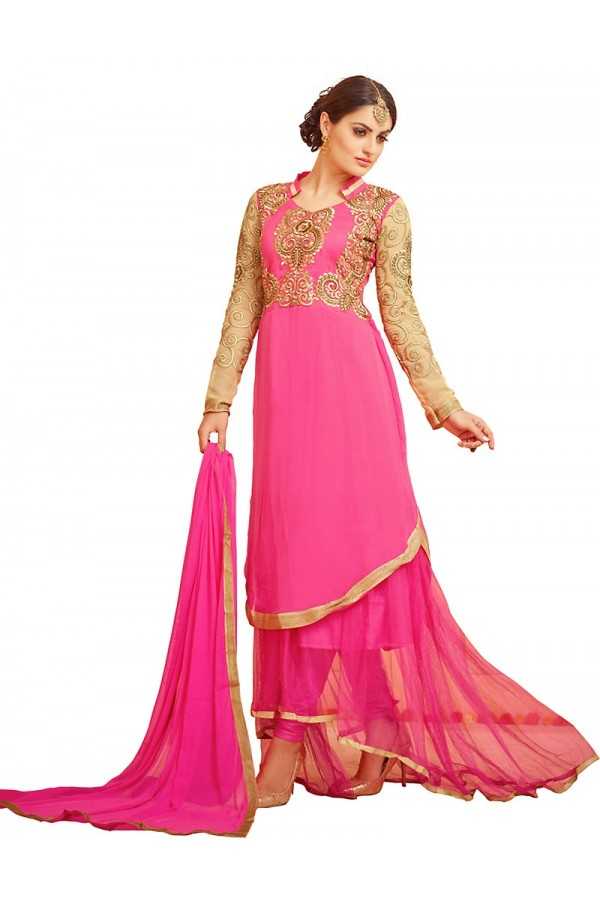 Fancy Pink Georgette Anarkali Suit - 72994