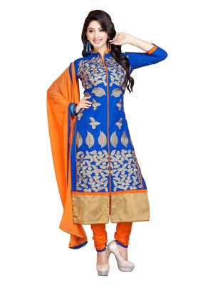 Party Wear Blue & Orange Cotton Salwar Suit - 73009