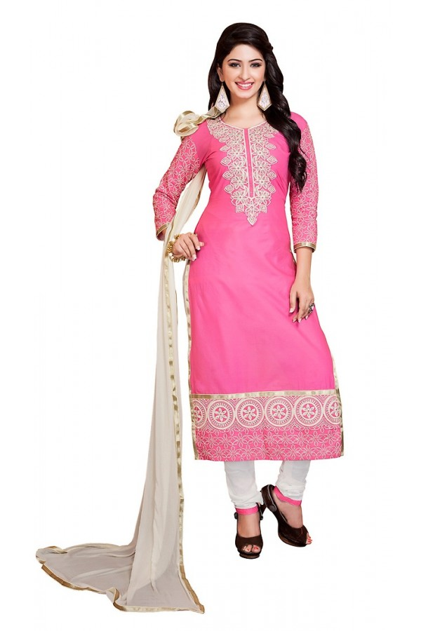 Party Wear Pink & Off White Cotton Salwar Suit - 73011