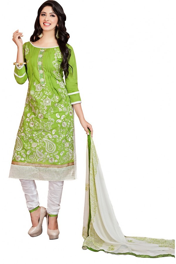 Ethnic Wear Green & Off White Cotton Salwar Suit - 73013
