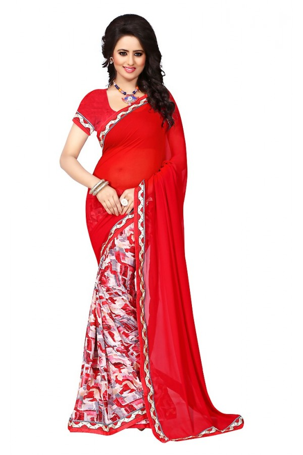 Ethnic Wear Red Georgette Saree  - 73019