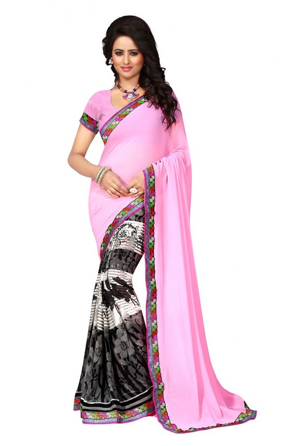 Casual Wear Multicolour Georgette Saree  - 73020