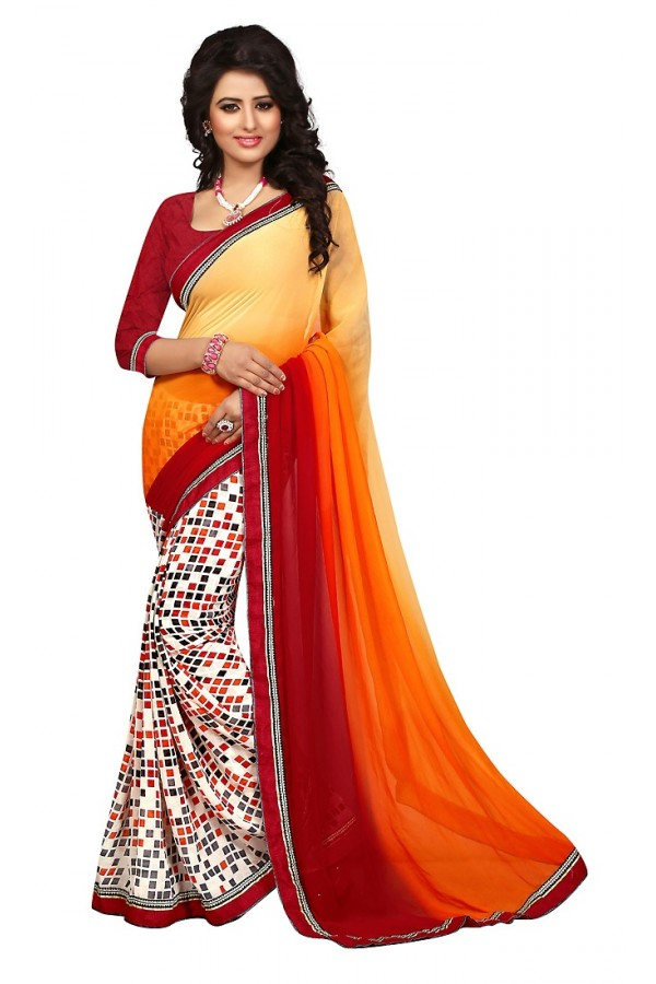 Casual Wear Multicolour Georgette Saree  - 73025