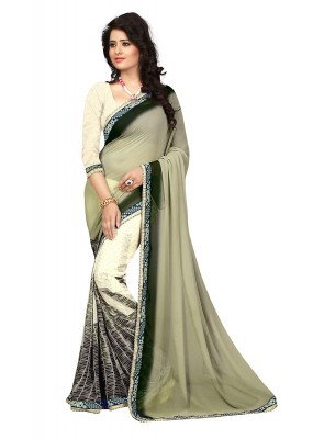 Ethnic Wear Cream Georgette Saree  - 73026