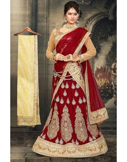 Wedding Wear Red & Beige Velvet Lehnega Choli -73065