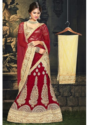 Bridal Red & Beige Velvet Lehnega Choli -73067
