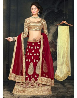 Traditional Red & Beige Velvet Lehnega Choli -73068