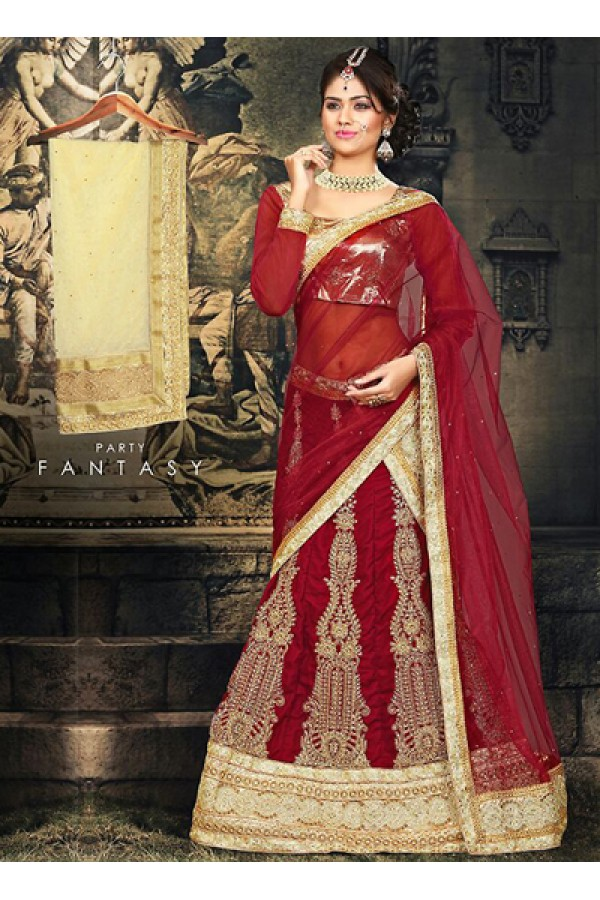 Ethnic Wear Red & Beige Velvet Lehnega Choli -73070
