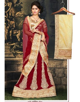 Wedding Wear Red & Beige Velvet Lehnega Choli -73073