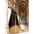 Party Wear Black & Tan Brown Silk Lehenga Suit - 73095