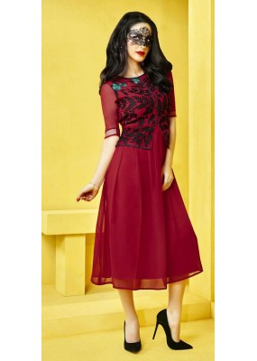 Office Wear Readymade Red Georgette Kurti - 73097