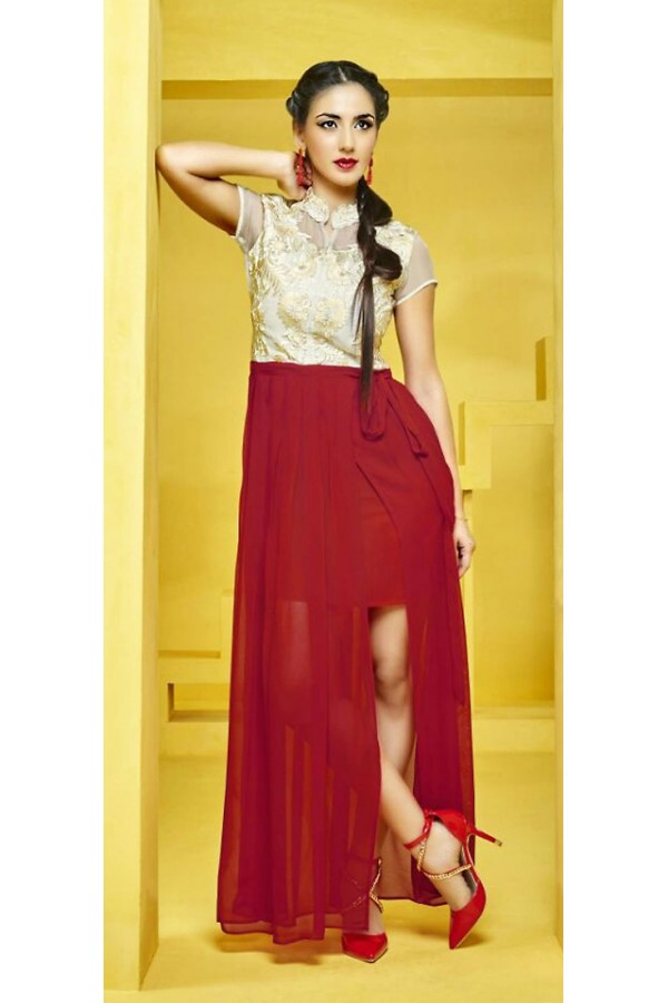 Fancy Readymade Beige & Red Georgette Kurti - 73099