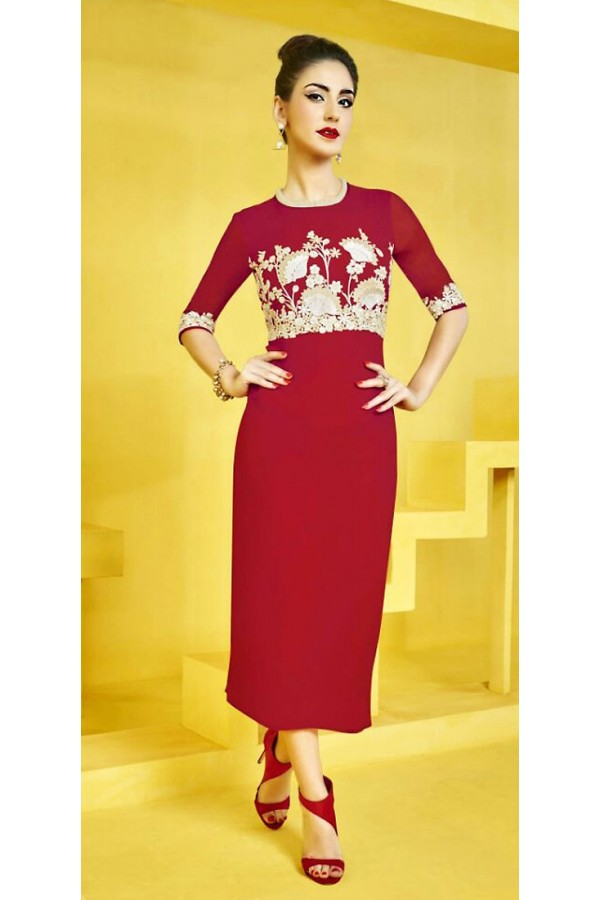 Office Wear Readymade Red Georgette Kurti - 73106