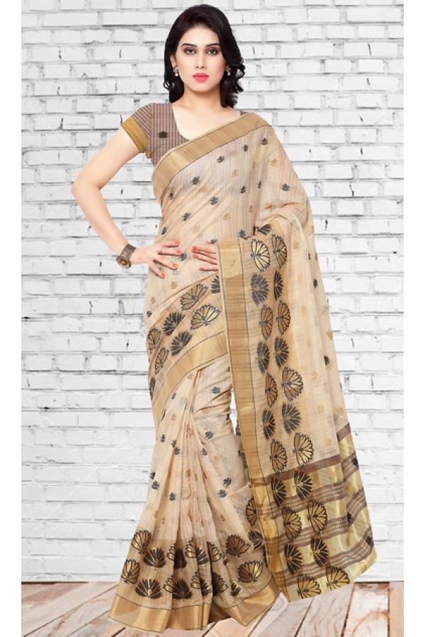 Party Wear Tan Brown Chanderi Silk Saree  - 73134