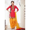 Party Wear Red & Yellow Cotton Patiala Suit - 73155