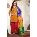 Office Wear Yellow & Red Cotton Patiyala Suit - 73158