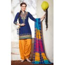 Office Wear Blue & Yellow Cotton Patiyala Suit - 73159