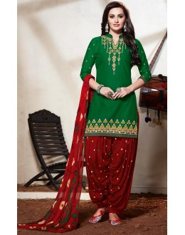 Party Wear Green & Maroon Cotton Patiyala Suit - 73160