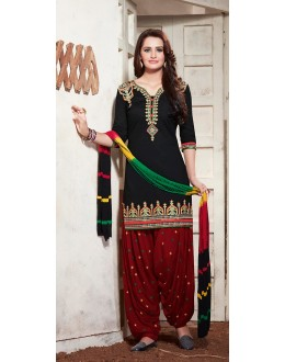 Party Wear Black & Maroon Cotton Patiyala Suit - 73164