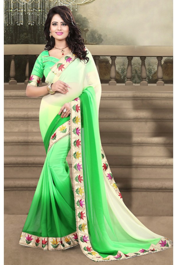 Party Wear Cream & Green Georgette Saree  - 73210