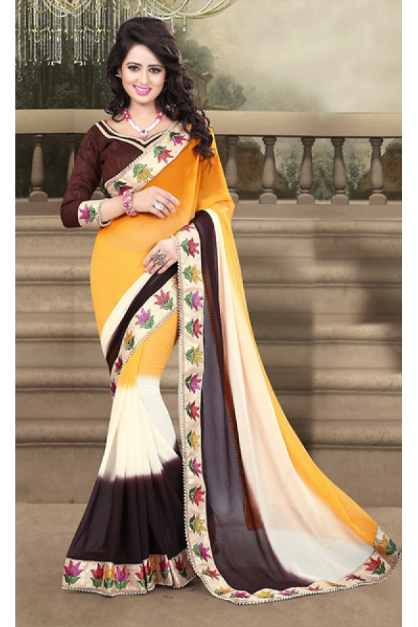 Ethnic Wear Yellow & Brown Georgette Saree  - 73211