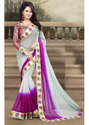 Ethnic Wear Grey & Pink Georgette Saree  - 73215