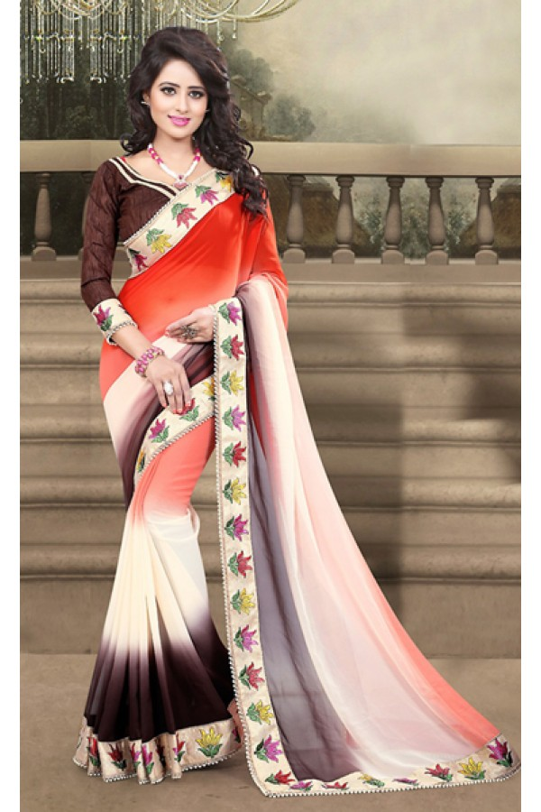 Traditional Orange & Brown Georgette Saree  - 73216