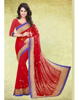 Party Wear Red Chiffon Embroidered Saree  - 73219