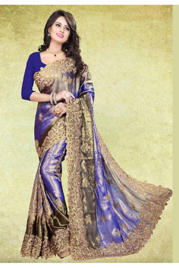 Ethnic Wear Purple & Blue Satin Saree  - 73220