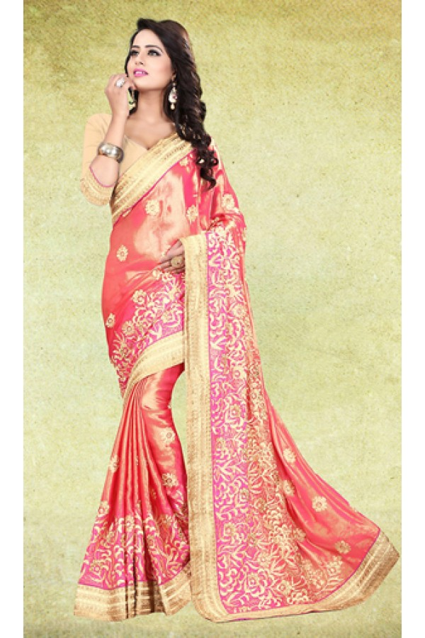 Designer Pink & Beige Satin Embroidered Saree  - 73221
