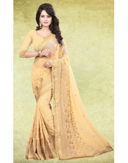 Casual Wear Beige Georgette Saree  - 73223