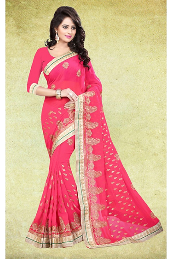 Party Wear Pink Georgette Saree  - 73224