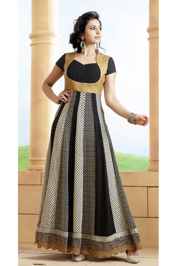 Traditional Black Georgette Embroidered Anarkali Suit - 73226
