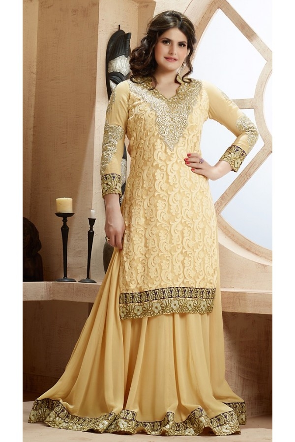 Ethnic Wear Tan Brown Georgette Palazzo Suit - 73228