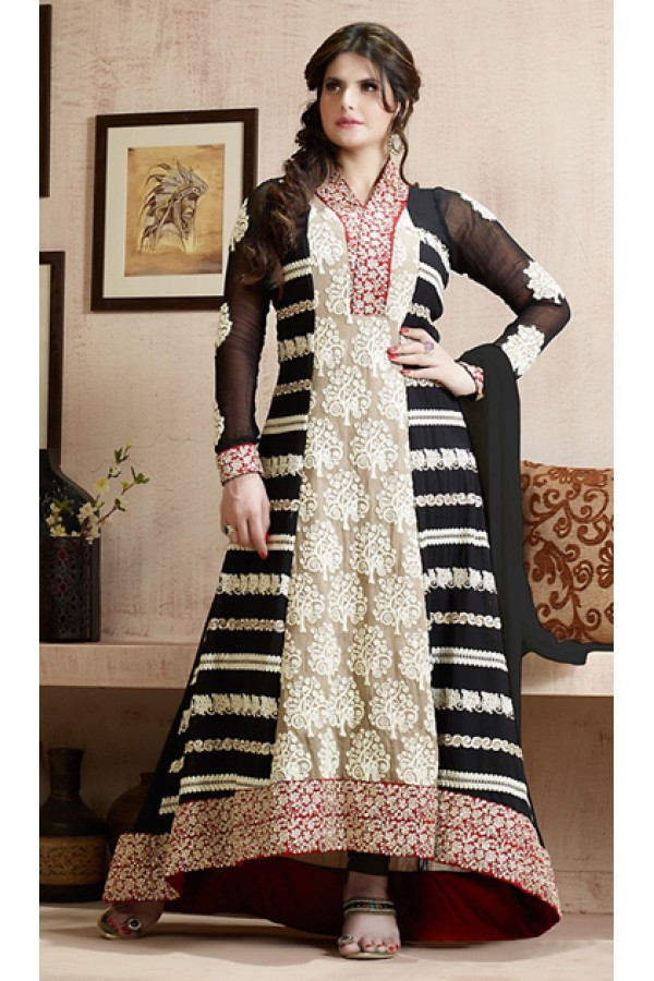 Fancy Black Georgette Embroidered Anarkali Suit - 73231