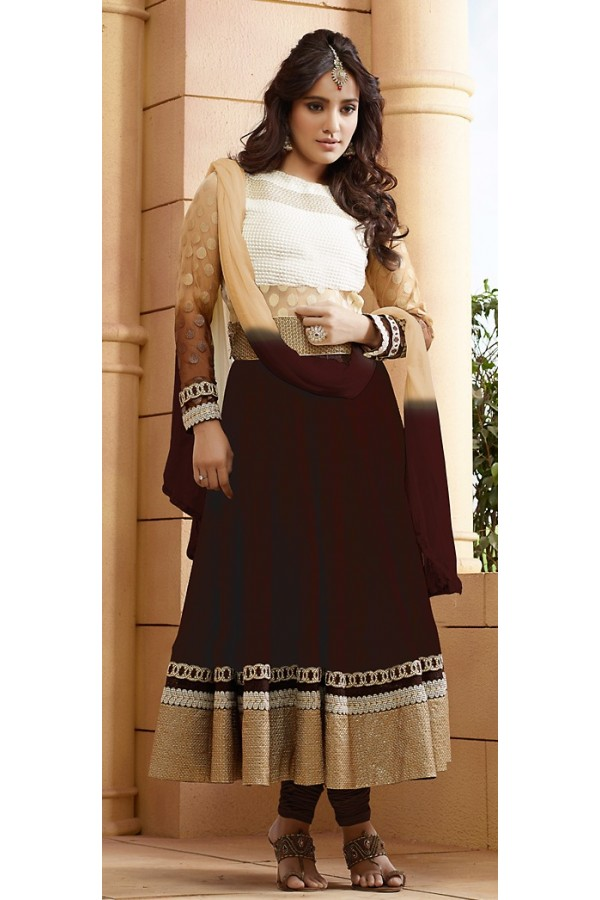 Party Wear Brown Georgette Embroidered Anarkali Suit - 73232