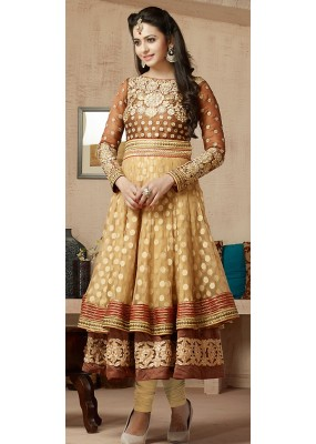 Fancy Tan Brown Georgette Embroidered Anarkali Suit - 73234