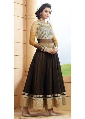 Ethnic Wear Black Georgette Embroidered Anarkali Suit - 73235