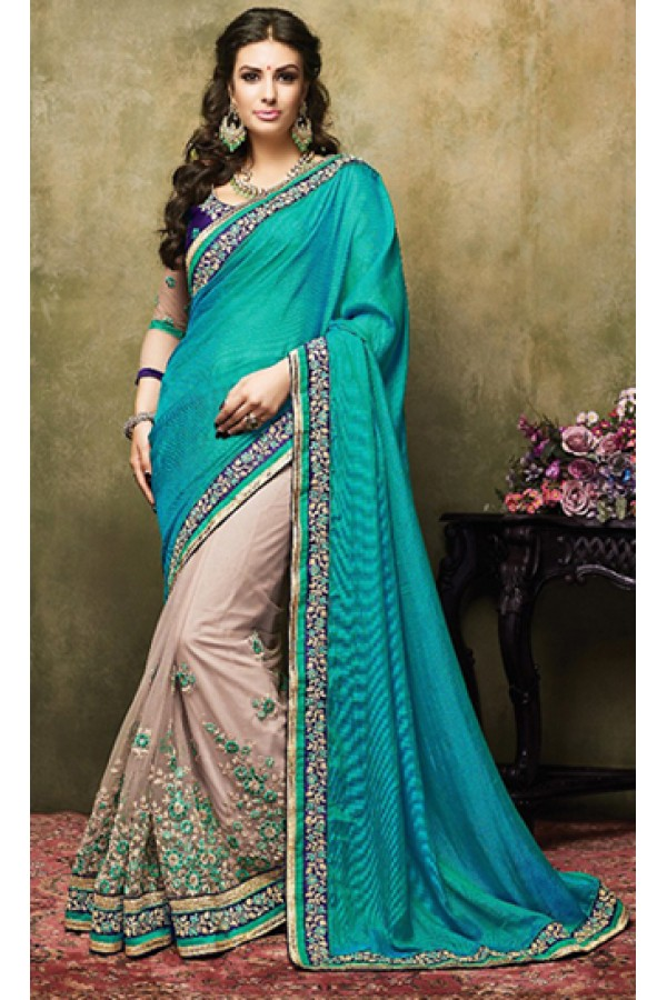 Traditional Aqua Blue & Brown Satin Saree  - 73254