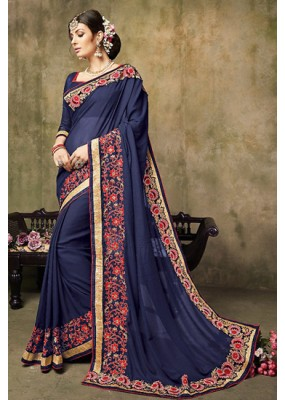 Traditional Navy Blue Georgette Saree  - 73257